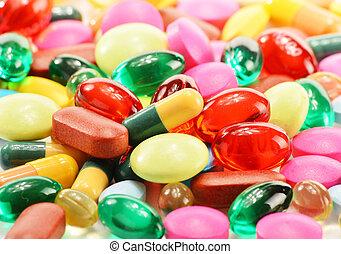 作品, 带, 规定食物补充, 胶囊, 同时,, 药物, 药丸