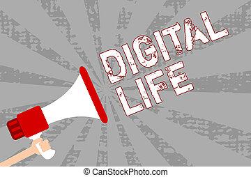 作品, 注意到, 显示, 数字, life., 商业, 照片, showcasing, 生活, 在中, a, 世界, 相互连接, 通过, 因特网, 多媒体, 人, 握住, 扩音器, 扬声器, grunge, 桔子, 光线, 重要, message.