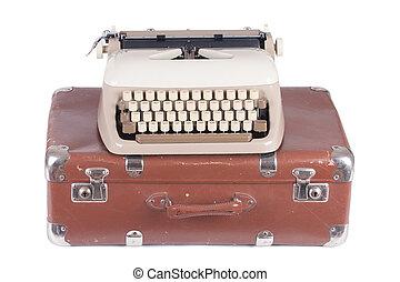 作家, 古い, スーツケース, ドイツ語, タイプ