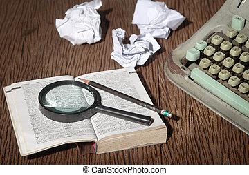 作家, 辞書, magnifier, 下に, 考慮しなさい, thai-english