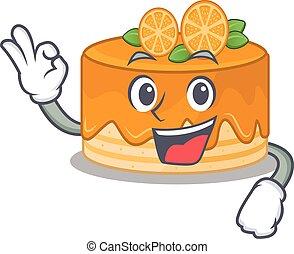 作成, ケーキ, ジェスチャー, オーケー, 面白い, 映像, オレンジ