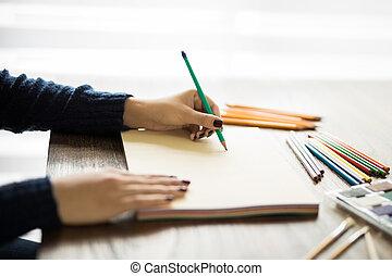 作成, スケッチ, 女性, 鉛筆