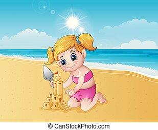 作成, 城浜, 砂, 女の子