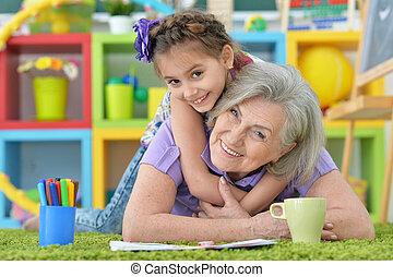 作成, 女の子, 宿題, おばあさん