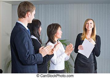 作成, 女, プレゼンテーション, ビジネス