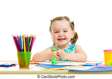 作成, 幸せ, 図画, 子供, 手