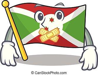 作成, 旗, ジェスチャー, マスコット, 特徴, スタイル, burundi, 漫画, 無声