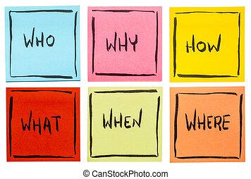 作成, 決定, ブレーンストーミング, ∥あるいは∥, 質問