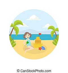 作成, 浜, かわいい, 砂の 城, 女の子, ベクトル, イラスト, 夏, わずかしか