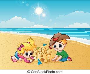 作成, 砂, 子供, 浜, 城