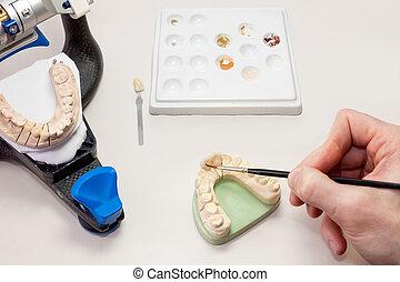 作成, 美顔術, 歯医者の, 人工装具である