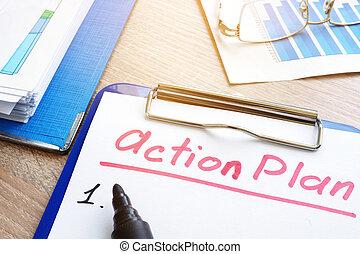 作戦, クリップボード, 計画, planning., 行動, pen.
