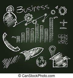 作戦, コーチ, ビジネス, 黒板