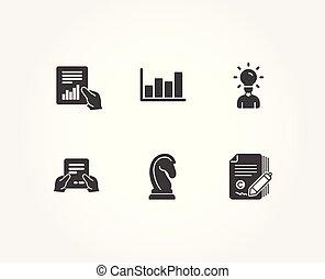 作戦, ファイル, 受け取りなさい, マーケティング, icons., 図, 教育, copywriting, レポート, 文書, signs.