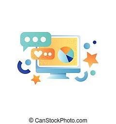 作戦, モニター, 要素, ビジネスコンピュータ, マーケティング, 金融, イラスト, データ, シンボル, ベクトル, 背景, 分析, 白, 管理