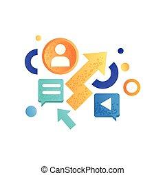 作戦, 金融, 要素, ビジネス, マーケティング, イラスト, シンボル, ベクトル, 背景, 白, 管理