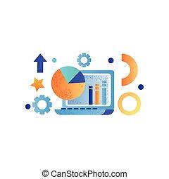 作戦, 金融, 要素, ビジネス, マーケティング, ラップトップ, イラスト, データ, シンボル, ベクトル, コンピュータ, 背景, 分析, 白, 管理