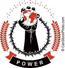 作曲された, 上げられた, 囲まれた, globe., 使うこと, 手段, 政治的である, とげ, 花輪, 影響, 筋肉, 世界的である, ベクトル, 権威, 保有物, 地球, ロゴ, 強い, 腕, 社会