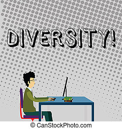作曲された, 別, 概念, コンピュータ, multiethnic, 仕事, 変化, ある, テキスト, まっすぐに, モデル, 多様, 意味, diversity., 本, ビジネスマン, 椅子, テーブル。, 手書き, 要素
