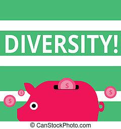 作曲された, 別, 概念, multiethnic, カラフルである, 変化, ある, お金, コイン, ドル記号, 通貨, 意味, diversity., 銀行, テキスト, 手書き, slit., 多様, 要素, 小豚