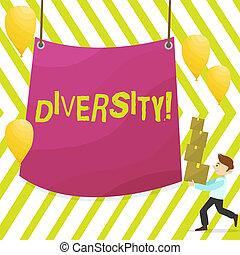 作曲された, 別, diversity., 単語, 中心, ビジネス, 変化, ある, テキスト, 届く, 防水布, multiethnic, 執筆, 箱, 概念, 山, ブランク, balloons., 多様, 要素, 人