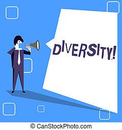 作曲された, 概念, bubble., ある, テキスト, 形, diversity., ブランク, 別, 平らでない, 変化, 執筆, 叫ぶこと, スピーチ, 白, メガホン, 要素, 意味, multiethnic, 多様, ビジネスマン, 手書き