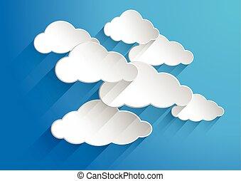 作曲された, 雲, illustration., blue., 抽象的, ペーパー, ベクトル, 背景, 白, 上に