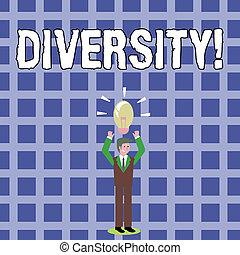 作曲された, diversity., ある, テキスト, 印, 多様, 要素, 地位, 別, 変化, 腕, 写真, 概念, つけられる, 彼の, 提示, head., 電球, 上げること, アイコン, multiethnic, ビジネスマン, 上向きに