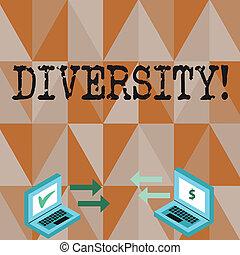 作曲された, diversity., ある, 写真, ラップトップ, 印, 通貨, 多様, 点検, 別, 変化, 2, 執筆, ∥間に∥, 概念, 要素, ビジネス, 提示, icons., 手, multiethnic, アイコン, テキスト, 矢
