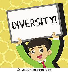 作曲された, diversity., ある, 写真, 印, 多様, ブランク, 微笑, 要素, 別, 変化, 若い, の上, テキスト, 概念, 彼の, 提示, 学生, 枠にはめられた, 上げること, multiethnic, whiteboard, head., 上向きに