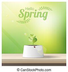 你好, 春天, 背景, 由于, 年輕, 新芽, 生長, 在, a, 罐, 上, 木製的桌子, 頂部, 1