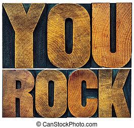 你, 岩石, 在, letterpress, 木頭, 類型