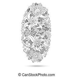 佩兹利涡旋纹花呢, 指甲花, 设计, mehndi, doodles, element.