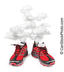 使い果たされた, 動くこと, スポーツの靴