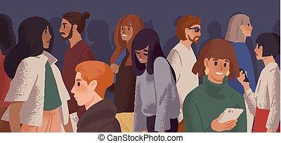 使い果たされた, character., illustration., 女の子, 漫画, 悲しい, 若い, 感情的, ...