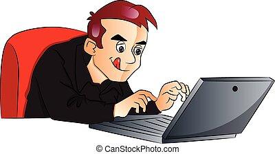 使うこと, ベクトル, laptop., ビジネスマン