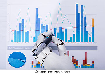使うこと, ロボット, グラフ, ペン, 仕事, 間