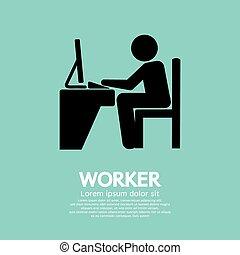 使うこと, 労働者, オフィス, computer.