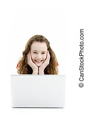 使うこと, 女の子, コンピュータ, ラップトップ, 若い