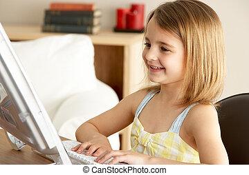 使うこと, 女の子, コンピュータ, 若い, 家