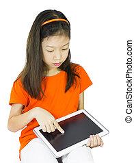使うこと, 女の子, 若い, タブレット, アジア人