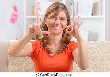 使うこと, 女, 耳が聞こえない, 言語, 印
