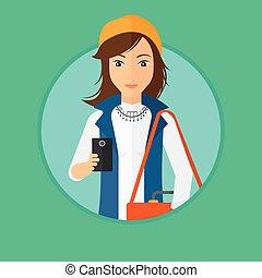 使うこと, 女, smartphone.