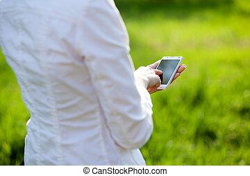 使うこと, 女, smartphone, クローズアップ, 手