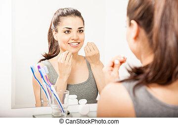 使うこと, 歯医者の, 女, 若い, フロス