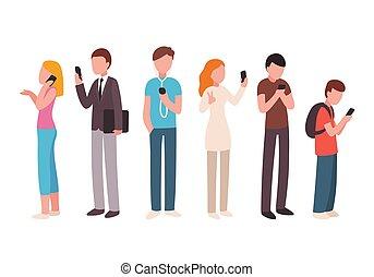 使うこと, smartphones, 人々