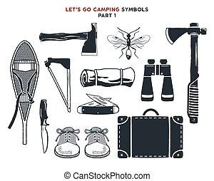 使われた, snowshoes, モノクローム, others., design., prints., キャンプ, 型...
