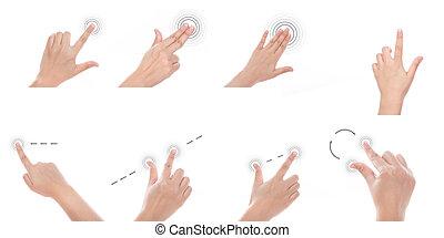 使用, グループ, スクリーン, multi-touch, 手, ジェスチャー, 感触, タブレット, 装置, ∥...