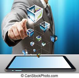 使用, ビジネス, タブレット, ストリーミング, コンピュータ, イメージ, 人