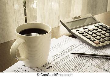 使用, ビジネス, 税, 出費, 形態, 家, あなたの
